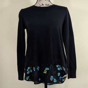 NWT Ann Taylor Black Sweater Ruffle Floral Back PS
